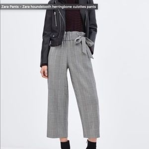 Zara houndstooth herringbone plaid culottes pants